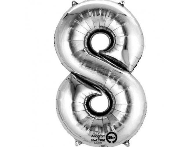 Balónek narozeninový velký - stříbrný - číslo 8