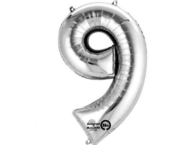 Balónek narozeninový velký - stříbrný - číslo 9