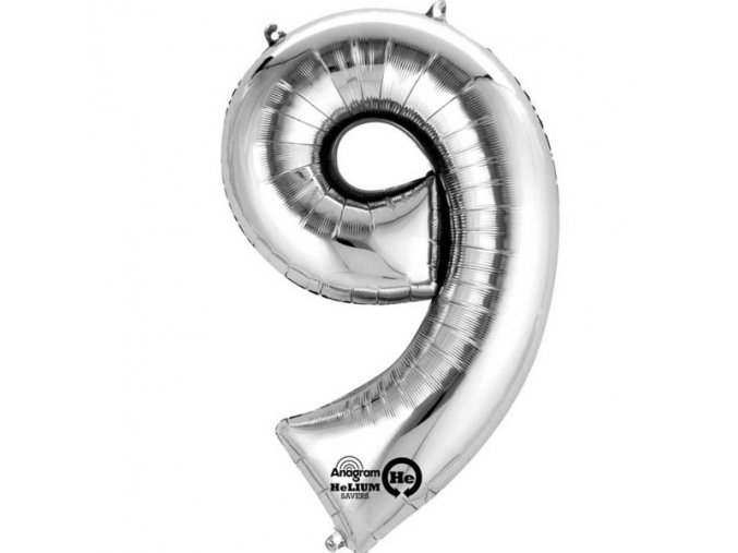 Balónek narozeninový MALÝ - stříbrný - číslo 9