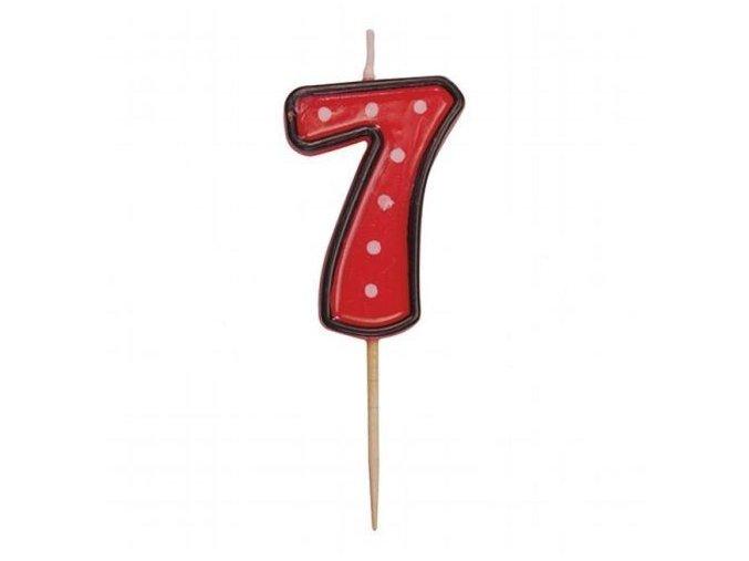 Dortová svíčka číslice ČERVENÁ s puntíky - 7