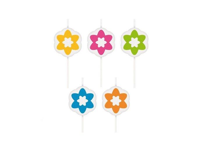 Dortové svíčky 5 ks - květy