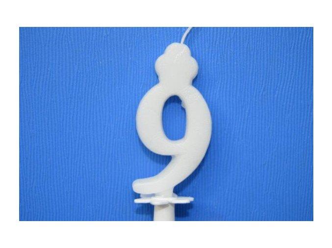 Dortová svíčka číslice bílá - 9