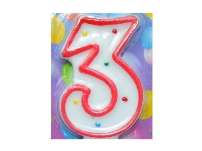 Svíčka číslice BAREVNÁ - 3