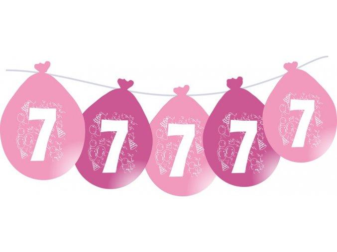 Balónky narozeninové VISÍCÍ 5 ks - růžové - číslo 7