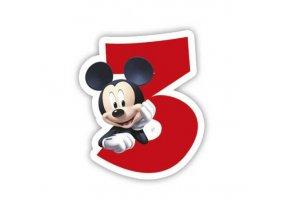 Dortová svíčka Mickey Mouse s číslem - 3