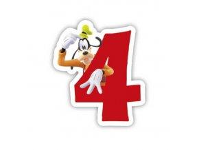 Dortová svíčka Pes Goofy s číslem - 4