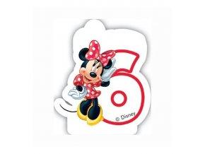 Dortová svíčka MINNIE Mouse s číslem - 6