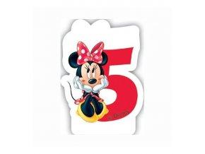 Dortová svíčka MINNIE Mouse s číslem - 5