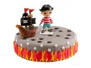 Sada figurek na dort - Pirát s lodí