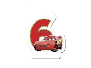 Dortová svíčka CARS s číslem - 6