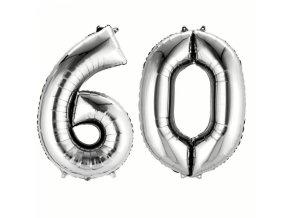 Balónky narozeninové velké - stříbrné - číslo 60