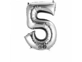Balónek narozeninový velký - stříbrný - číslo 5