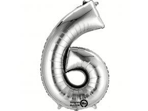 Balónek narozeninový velký - stříbrný - číslo 6