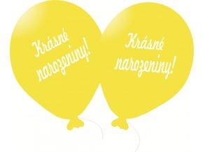 Balónky 5 ks s nápisem - Krásné narozeniny! - žluté