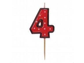 Dortová svíčka číslice ČERVENÁ s puntíky - 4