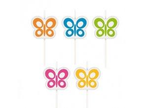 Dortové svíčky 5 ks - motýlci