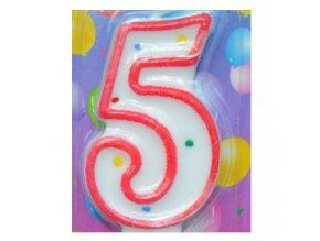 Svíčka číslice BAREVNÁ - 5