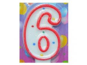 Svíčka číslice BAREVNÁ - 6