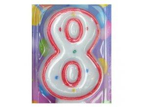 Svíčka číslice BAREVNÁ - 8