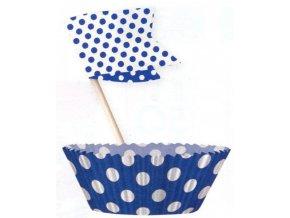 Košíčky a vlaječky - modré