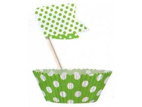 Košíčky a vlaječky - zelené