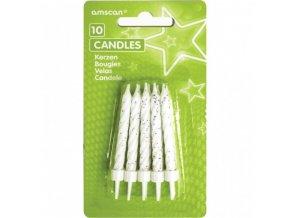 Svíčky Amscan 10 ks bílé s držáky