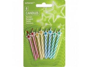 Svíčky Amscan 8 ks - mix barev s hvězdou