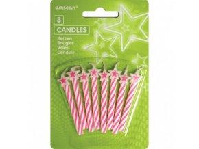 Svíčky Amscan 8 ks - růžové s hvězdou