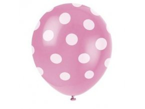 Balónky s puntíky 6 ks - růžové