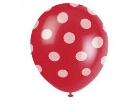 Balónky s puntíky 6 ks - červené