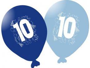 Balonky narozeninové 5ks modré - číslo 10
