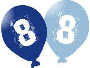 Balonky narozeninové 5ks modré - číslo 8