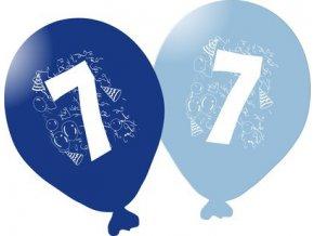 Balonky narozeninové 5ks modré - číslo 7