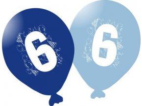 Balonky narozeninové 5ks modré - číslo 6