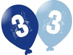 Balonky narozeninové 5ks modré - číslo 3