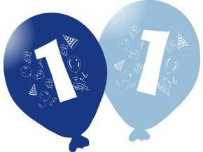 Balonky narozeninové 5ks modré - číslo 1