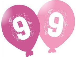 Balonky narozeninové 5ks růžové - číslo 9
