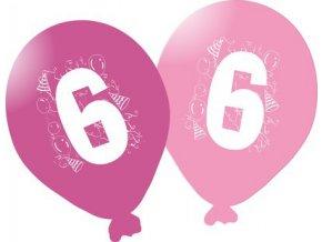 Balonky narozeninové 5ks růžové - číslo 6