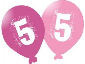 Balonky narozeninové 5ks růžové - číslo 5