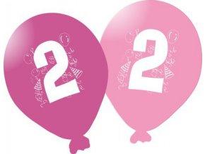 Balonky narozeninové 5ks růžové - číslo 2