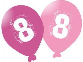 Balonky narozeninové 5ks růžové - číslo 8
