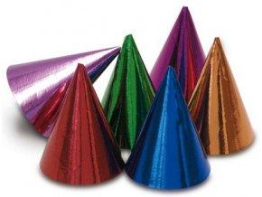 Párty čepičky 10 ks - lesklé barevné