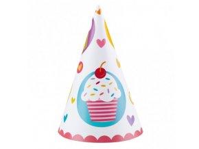 Párty čepičky 6  ks - motiv s dortíky