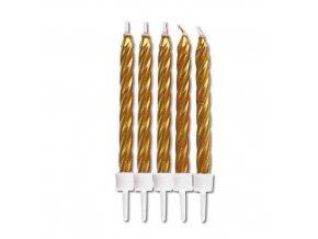 Dortové svíčky zlaté 10 ks