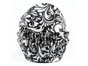 Košíčky velké FunCakes 50ks - černé s bílým vzorem