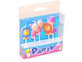 Dortové svíčky Party 5 ks - zvířátka