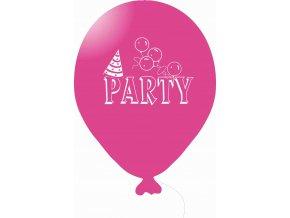 Balónky s nápisem PARTY 5 ks - růžové