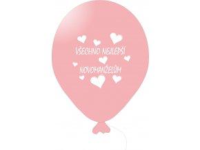 Balónky svatební VŠE NEJ... 5 ks - růžové