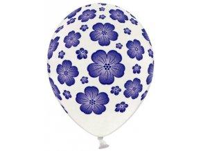 Balónky s potiskem 5 ks - modré květy