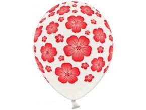 Balónky s potiskem 5 ks - červené květy